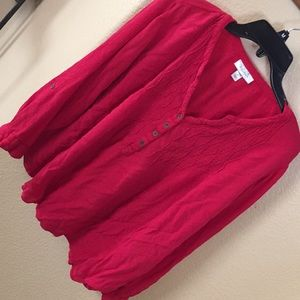Dress barn plus size red peasant blouse